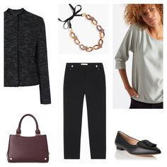 Client brief: update work wardrobe for mild months with versatile separates that can be worn multiply ways always ensuring a polished and professional feel. Jacket, bag & shoes: LK Bennett, necklace: J.Crew, top: Jigsaw, trousers: Gerard Darel
