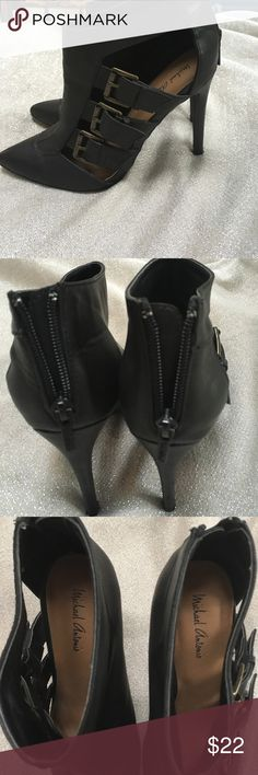 Michael Antonio size 7.5 shoes Michael Antonio size 7.5 shoes.  Matte black color with three buckles. Only wore a few times. Zip up on the back heal.   I measured the heels at approximately 4.5 inches. Awesome shoes for the coming fall make an offer Michael Antonio Shoes Ankle Boots & Booties