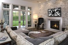 white and grey living room design with exposed brick walls- Beautiful!!!