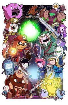 WHAT TIME IS IT? Mike Vasquez was kind enough to ask me to color his AMAZING lineart for this awesome Adventure Time/Super Smash Bros crossover print! Super Smash Time - Collab w Mike Vasquez Art Adventure Time, Adventure Time Crossover, Adventure Time Characters, Super Adventure, Adventure Cartoon, Adventure Time Wallpaper, Adventure Games, Super Smash Bros, Geeks