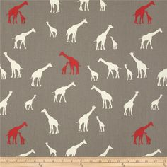 Birch Organic Serengeti Giraffe Family Shroom from @fabricdotcom  Designed by Jay-Cyn for Birch Organic Fabric, this GOTS certified organic cotton print fabric is perfect for quilting, apparel and home décor accents. Colors include coral red, cream and shroom grey.