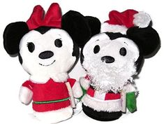 Disney Santa Mickey Mouse and Minnie Claus Christmas Limited Edition Itty Bittys Stuffed Plush Toys, Bundle of (2 Items) *** Visit the image link more details.