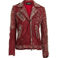 Balmain Studded Biker Jacket (25 365 BGN) ❤ liked on Polyvore featuring outerwear, jackets, tops, leather jackets, coats, women, studded biker jacket, red moto jacket, leather moto jacket y motorcycle jacket
