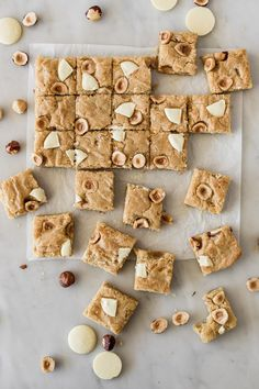 Hazelnut And White Chocolate Blondies Cravings Journal Brownie Recipes, Cookie Recipes, Dessert Recipes, Chocolate Blondies Recipe, Food Photography Tips, How Sweet Eats, Dessert Bars, Sweet Recipes, Baking Recipes