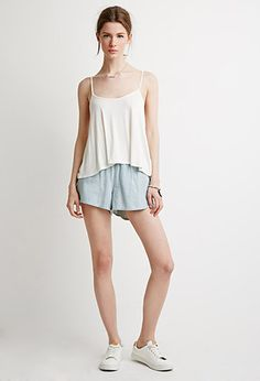 Life In Progress Pinstripe Denim Shorts | LOVE21 | #f21contemporary