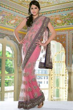 Ethnic baby pink net saree.