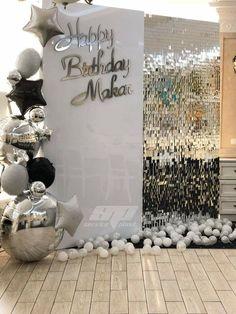 Features custom acrylic birthday message on acrylic wall panel, shimmer silver panel, custom balloon cascade. Original designer not known. Disco Birthday Party, 70th Birthday Parties, Birthday Party Decorations, Disco Theme Parties, Silver Party Decorations, Birthday Nails, Birthday Balloons, Birthday Ideas, Decoration Evenementielle