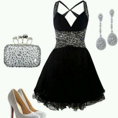 Sliver and black dress