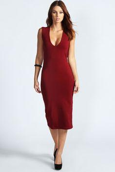 Mia Plunge Neck Bodycon Midi Dress