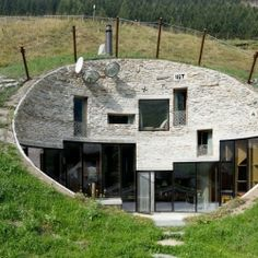 The Coolest Earth Houses around the World. Pictured, unique home in Vals, Switzerland.