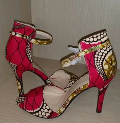 Pink and Olive Ankara African Print High Heeled by belangehandmade