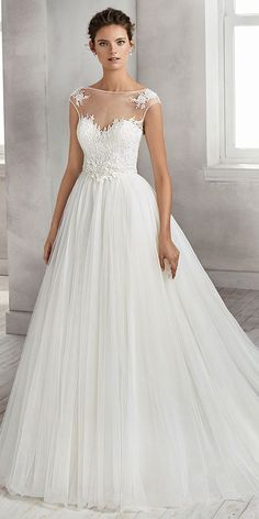 Romantic Tulle Bateau Neckline A-line Wedding Dress With Beaded Lace Appliques & Handmade Flowers #weddingdress