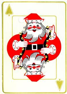 Vintage Christmas playing card with Santa