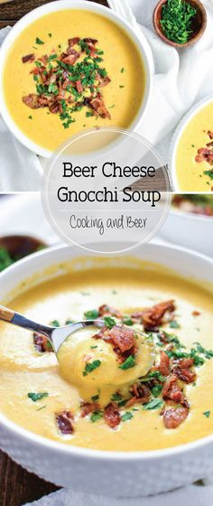 Beer Cheese Gnocchi Soup Creamy Beer Cheese Gnocchi Soup is a creamy and comforting soup that's topped with bacon and loaded with cheese!Creamy Beer Cheese Gnocchi Soup is a creamy and comforting soup that's topped with bacon and loaded with cheese! Beer Recipes, Chili Recipes, Soup Recipes, Cooking Recipes, Cheese Recipes, Vegan Recipes, Beer Cheese Soups, Cheese Food, Gnocchi Recipes