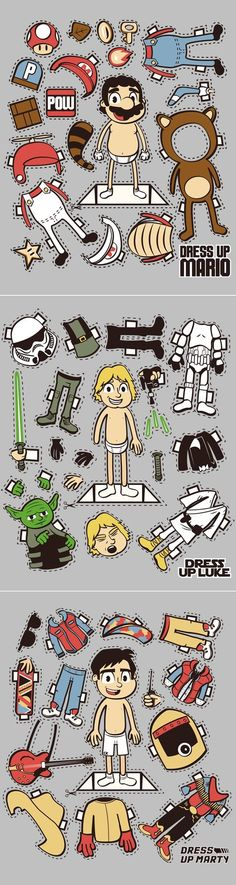 Paper dolls for boys or... SWAPS/ Den Doodles