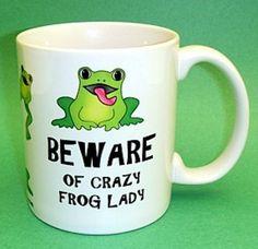Crazy Frog Lady Ceramic Mug from www.frogstore.com