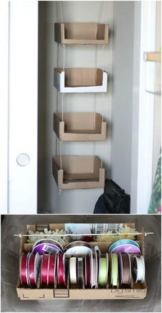 Cardboard Box Storage, Recycle Cardboard Box, Diy Cardboard Furniture, Diy Storage Boxes, Cardboard Box Crafts, Diy Furniture, Furniture Storage, Cardboard Playhouse, Diy With Cardboard Boxes