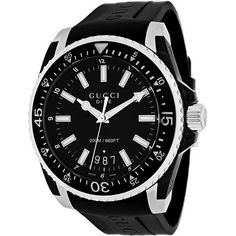 8fce89566d7 Gucci Mens Dive XL YA136204 Quartz Black Band Black Dial