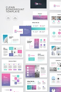 Creative Business Presentation PowerPoint TemplateClean, Creative and modern Presentation Template. Fully customization & super easy to use to fit any kind of Powerpoint Design Templates, Powerpoint Themes, Professional Powerpoint Templates, Templates Free, Website Design Layout, Layout Design, Web Design, Presentation Layout, Business Presentation
