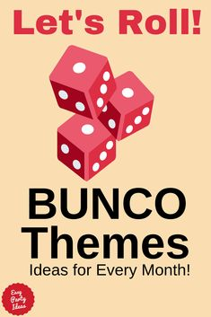 Decide on your bunco party theme now with lots of creative ideas to add some fun to any month! Bunco Rules, Bunco Game, Summer Party Games, Backyard Party Games, Halloween Bunco, Halloween Party Games, Bunco Party Themes, Bunco Ideas, Party Ideas