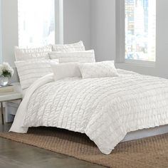 Create a gorgeous focal point for your bedroom with the Ruffle Wave duvet cover. Luxurious rows of ruffles dance upon this soft and eye-catching bedding, creating textural interest and dimension that will revitalize the look of your décor. White Pillows, White Bedding, Bed Pillows, Pillow Shams, Studio Apartment Living, Apartment Ideas, White Duvet Covers, Bedroom Styles, Bedroom Ideas