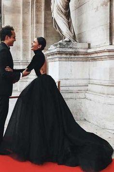 High Neck Black Ball Gown Dresses with Long Sleeves Ballkleid Kleid Black Wedding Dresses, Elegant Dresses, Beautiful Dresses, Black Gowns, Black Formal Gown, Black Weddings, Black Evening Dresses, Ball Gown Dresses, Prom Dresses