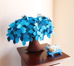 Blue Weeping willow Felt Tree Decoration Children room by Intres