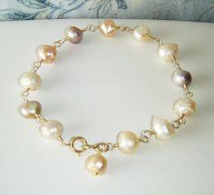 Drusy rosebud pearl bracelet gold jewellery by oneoffcreations, $32.00