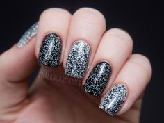 TV Static Nails - Etsy seller Windestine's Carbon Copy and Asbestos.  Numbar Polka Dot duo could also work for a chunkier look.