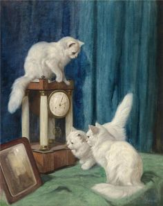 The Athenaeum - Three Curious Cats (Arthur Heyer - )  1872 - 1931