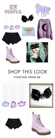 """""""pastel goth part 3 XD"""" by ash-the-emo ❤ liked on Polyvore featuring Pusheen and Dr. Martens"""