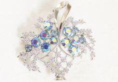Vintage Coro Blue Rhinestone Flower Basket by GrandVintageFinery
