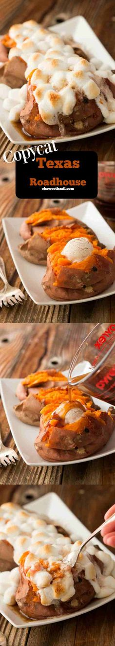 Copycat Texas Roadhouse Loaded Sweet Potato ~  Crazy good... Who needs the restaurant when you can make copycat Texas Roadhouse Loaded Sweet Potatoes at home?!