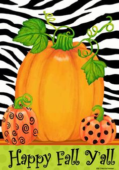 Custom Decor Flag - Pumpkins & Zebra Decorative Flag at Garden House Flags