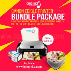The #Icinginks™ brings forward a #BundlePackage of #Canon #EdiblePrinter with a pack of #EdibleFrostingSheets, and a complete set of 5 #EdibleInkCartridges for you at $239. The Bundle Package is available #online at #Icininginks. The #printer set is beneficial for printing your or family members' #images on the #BirthdayCakes. It supports smart decoration on cakes too.
