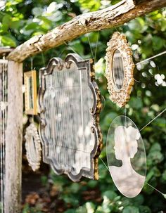 garden mirrors Dishfunctional Designs: The Upcycled Garden Volume Using Recycled Salvaged Materials In Your Garden Outdoor Mirror, Outdoor Decor, Garden Mirrors, Mirrors In Gardens, Shabby Chic Mirror, Through The Looking Glass, Dream Garden, Garden Inspiration, Garden Ideas