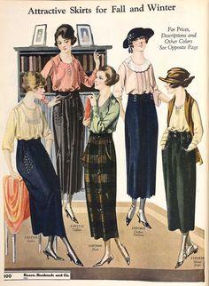 pockets on skirts 20s Fashion, Edwardian Fashion, Art Deco Fashion, Fashion History, Retro Fashion, Vintage Fashion, Edwardian Style, Moda Art Deco, Vintage Dresses