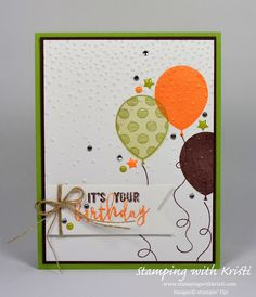 Balloon Adventures, Banner Triple punch, Linen Thread, Subtles & 2017-2019 In Color Enamel Shapes, Rhinestones - Happy Inkin' Thursday Blog Hop – 04/20/2017