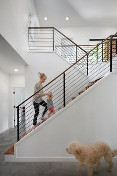modern Staircase with banister cable rail.