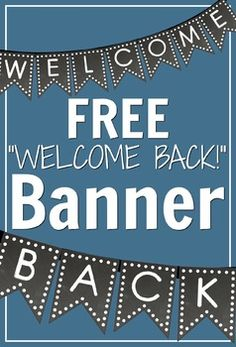 "Need a classroom banner to spruce up your room? Check out this polka-dot chalkboard ""Welcome Back"" banner for your back to school needs #free #school #banner"