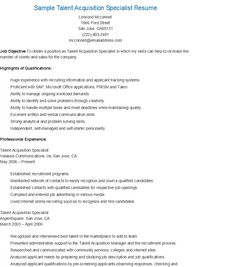 Charming Health And Safety Specialist Sample Resume Sample Talent Acquisition  Specialist Resume