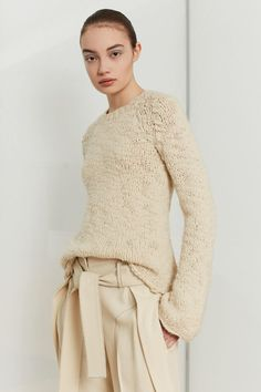LOOK 12 Natural artisanal wool cashmere bell sleeve raglan sweater Chamois pebble crepe wrap front trouser