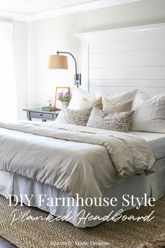 modern farmhouse bedroom design with all white bedding and simple curtains, cottage bedroom design with jute rug, neutral master bedroom decor ideas, shabby chic bedroom Farmhouse Planked Headboard - Sincerely, Marie Designs Easy Home Decor, Home Decor Bedroom, Bedroom Furniture, Home Furniture, Bedroom Ideas, Design Bedroom, Luxury Furniture, Diy Bedroom, Furniture Design
