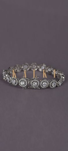 Silver Plated Bracelet With Stones In Concentric Round Design In Chain Pattern Online - Kalki Fashion Round Design, Fashion Colours, Silver Plate, Stones, Free Shipping, Chain, Link, Bracelets, Pattern