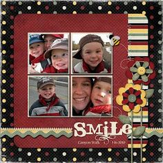 smile scrapbook layout perfect for using up miscellaneous pics of the kids while having more than 1 to a page.