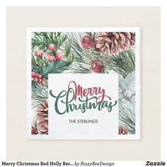 Shop Merry Christmas Red Holly Berry Pine Cone Napkins created by BizzyBeeDesign. Christmas Holidays, Merry Christmas, Christmas Gifts, Christmas Paper Napkins, Cocktail Party Themes, Custom Napkins, Holly Berries, Pine Cones, Art For Kids