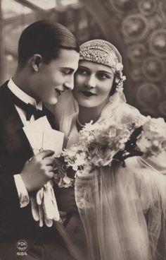 Vintage Wedding Bride Groom 1920's
