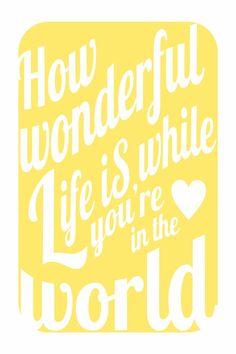 How Wonderful Life Is v3 print 12x18 - romantic music inspired art in happy sunshine yellow