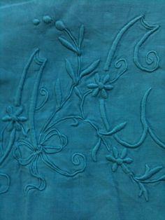 draps anciens en lin : drap lin bleu pétrole