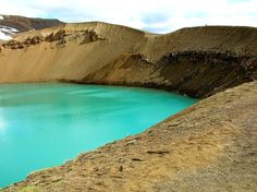 Lake Víti  This crater was formed during a prehistoric eruption, yet Víti itself was formed during an 1875 eruption. Víti's color ranges from milky green to pearly blue and can be bathed in after traversing the steep descent to its shores.